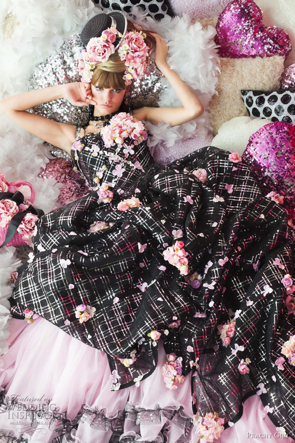 color wedding dresses peachy girl - black and pink bridal theme
