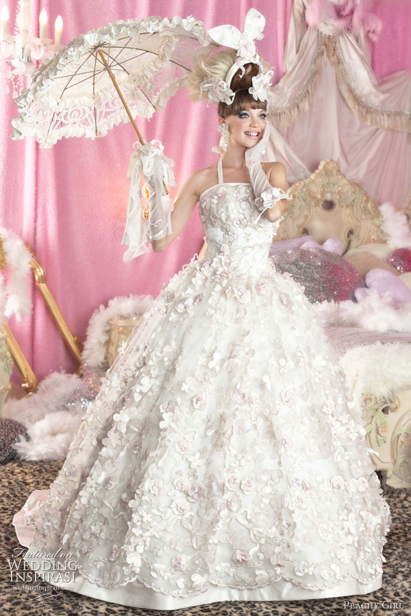 cute white wedding dress peachy girl - ball gown and frilly bridal parasol umbrella