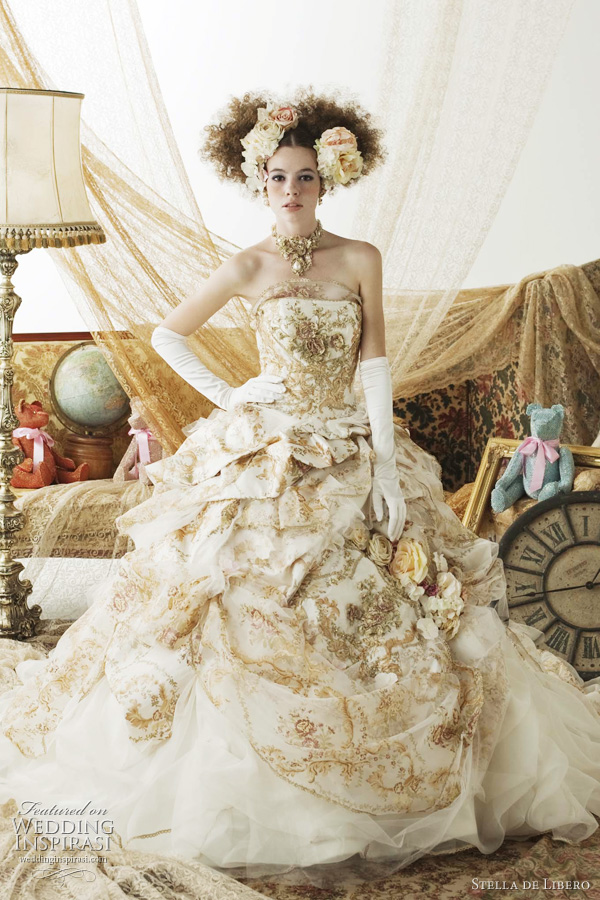 gold wedding dress stella