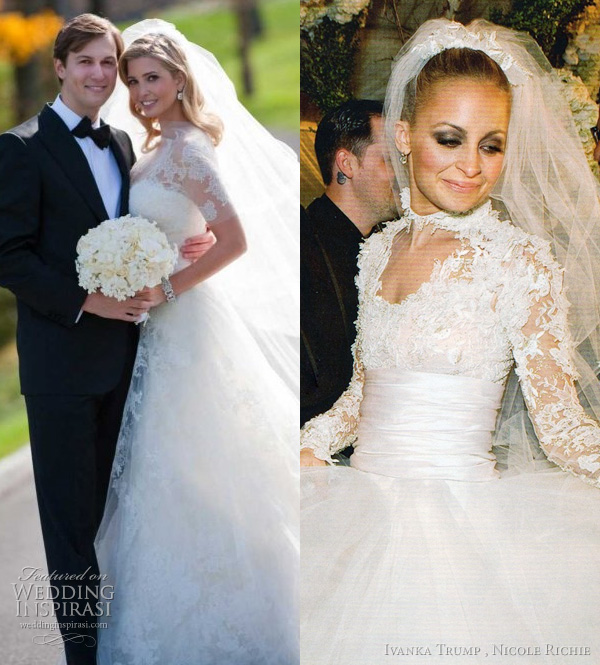 inspired by grace kelly's wedidng dress - ivanka trump in vera wang, nicole richie in marchesa
