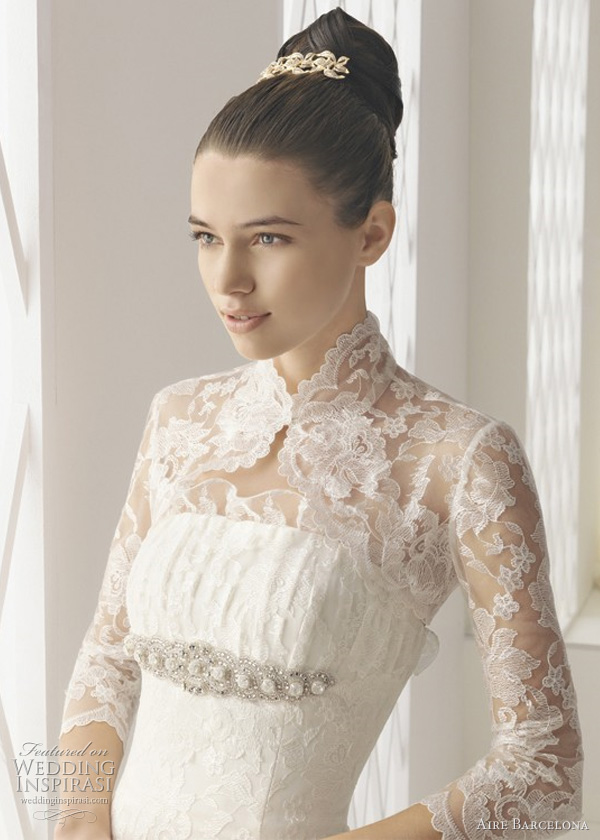 3 4 sleeve high collar lace top with Begonia strapless wedding dress from