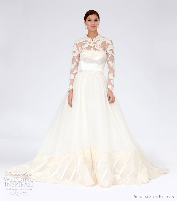 grace kelly style wedding dress 2012 - priscilla of boston