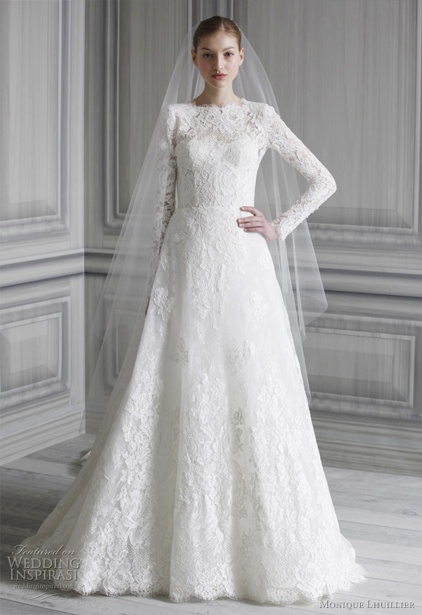 kate middleton inspired lace wedding dress - princess Catherine wedding gown by monique lhuillier spring 2012 collection