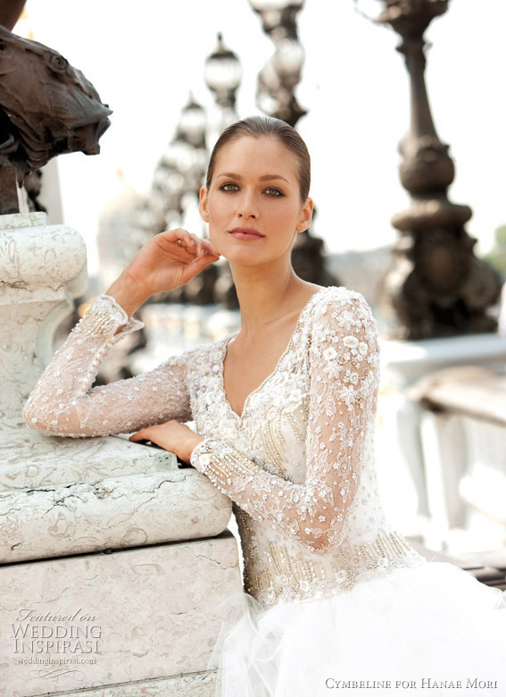 kate middleton inspired wedding dress - v-neck lace long sleeve bridal gown