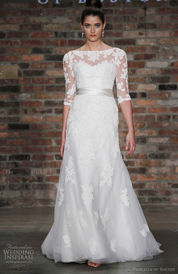lace wedding dress - priscilla of boston kate middleton inspired bridal gown