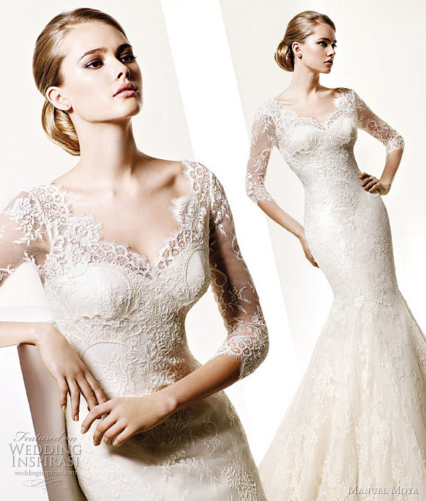 long sleeve lace wedding gown by Manuel Mota - alternative to Kate Middleton's wedding dress