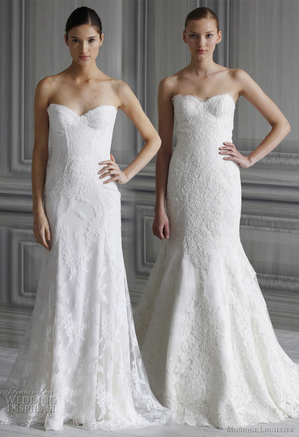monique lhuillier 2012 wedding dresses - strapless lace bridal gowns