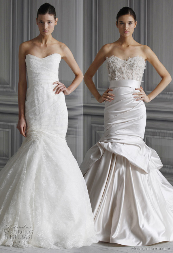 monique lhuillier spring 2012 wedding dresses - strapless mermaid gown
