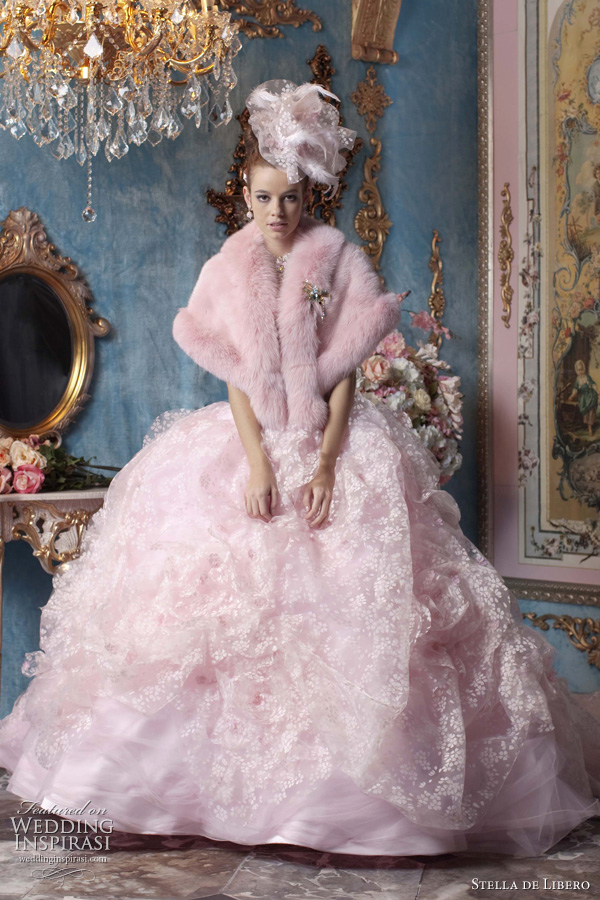 pink wedding dresses 2011 - pink wedding gown with pink fur stole by japanese bridal label Stella de Libero