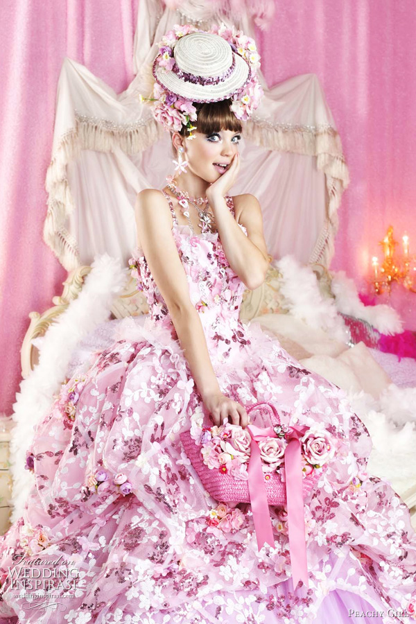 pink wedding dresses 2011  - cute ruffle bridal gowns from Japan