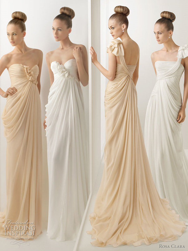 rosa clara wedding dress color - harmoni and hechizo draped grecian gowns