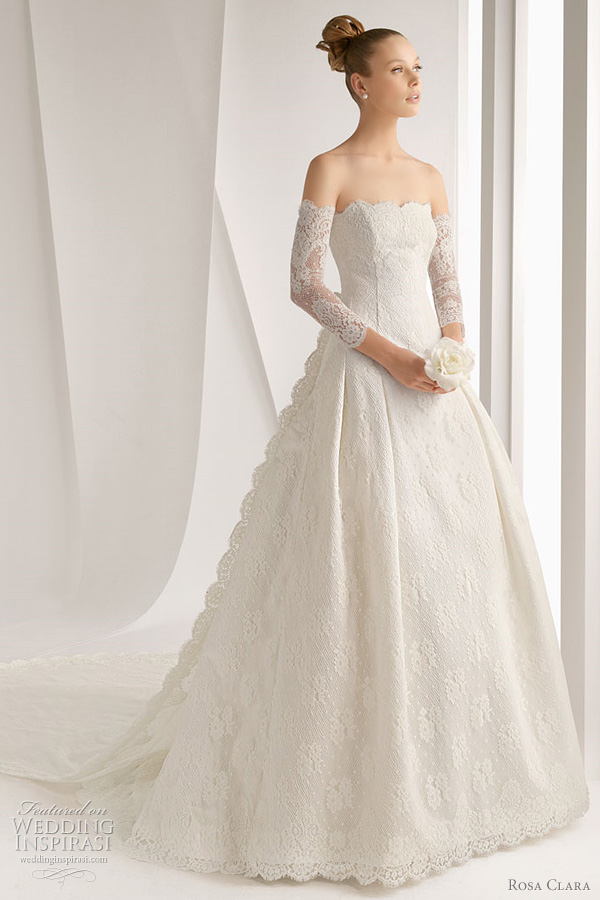 Lace Wedding Dress with Gloves_Wedding Dresses_dressesss