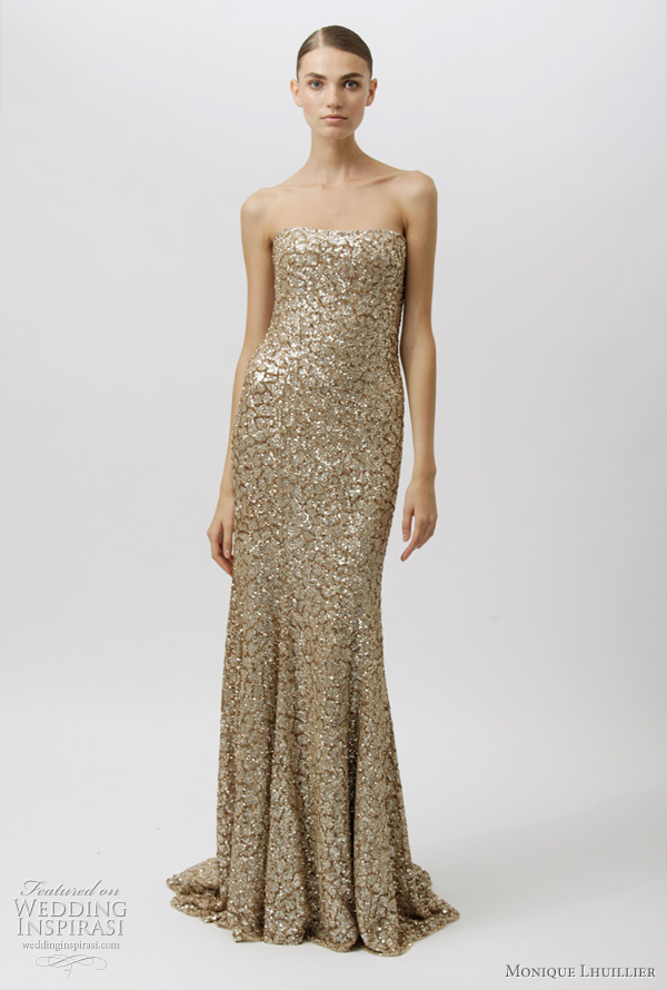 monique lhuillier 2012 dresses - gold strapless evening gown