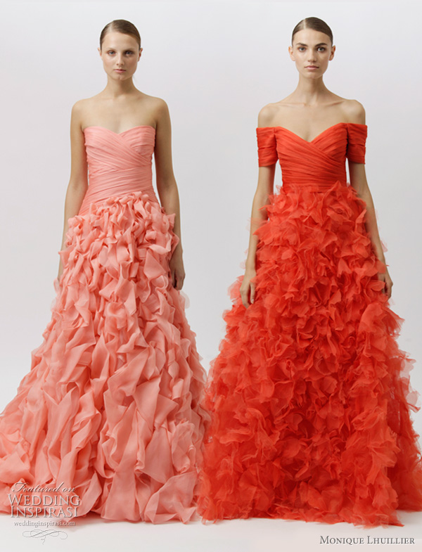 monique lhuillier resort 2012 - color wedding dresses ideas, red and salmon pink ruffle gowns