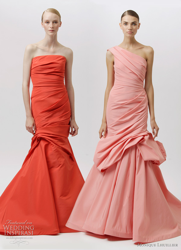 monique lhuillier resort 2012 color mermaid dresses in red orange and pink
