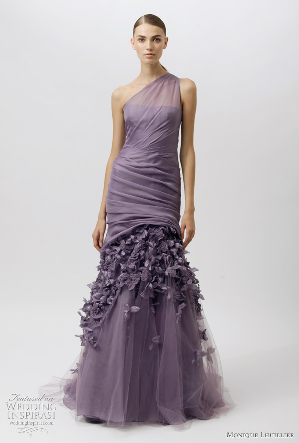 monique lhuillier resort 2012 purple dress - one shoulder evening gown with draped bodice
