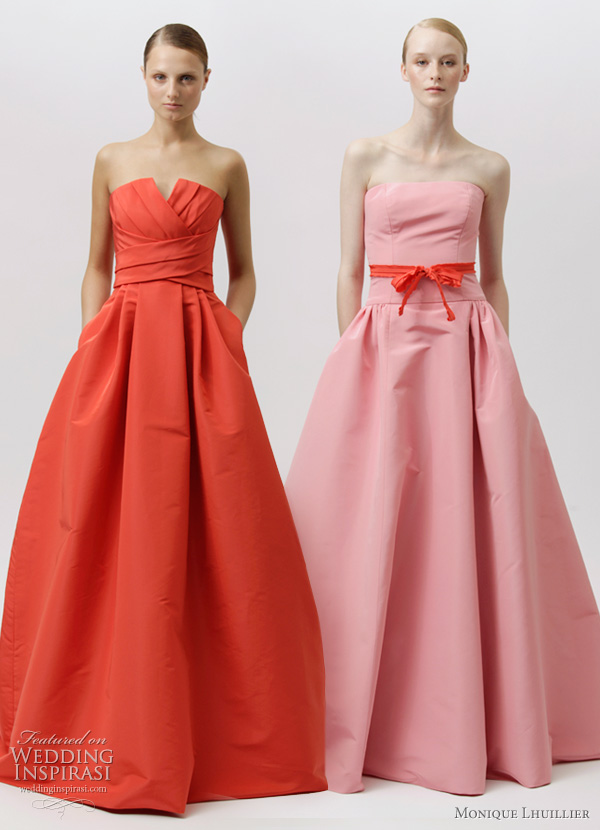 monique lhuillier resort 2012 - strapless red and pink dresses