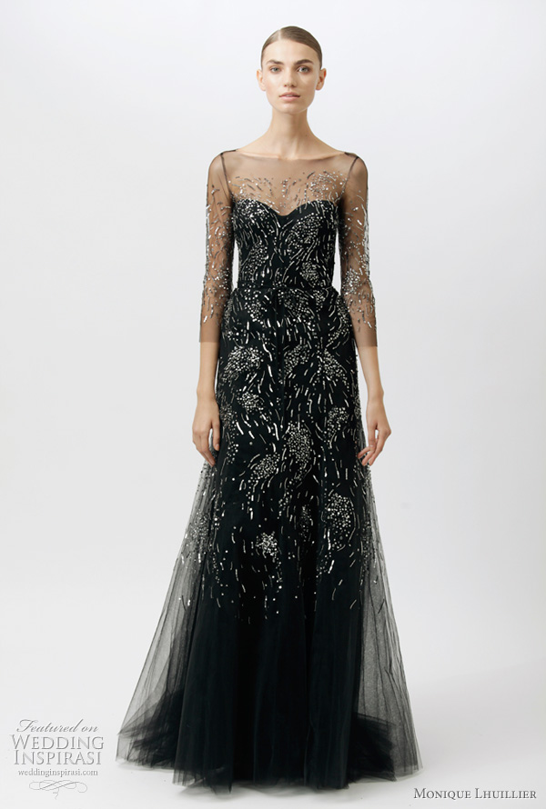 monique lhuillier resort 2012 dresses - black gown with illusion 3/4 sleeves and top