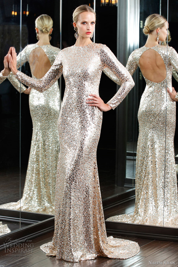 naeem khan 2012 collection - glittery long sleeve gown