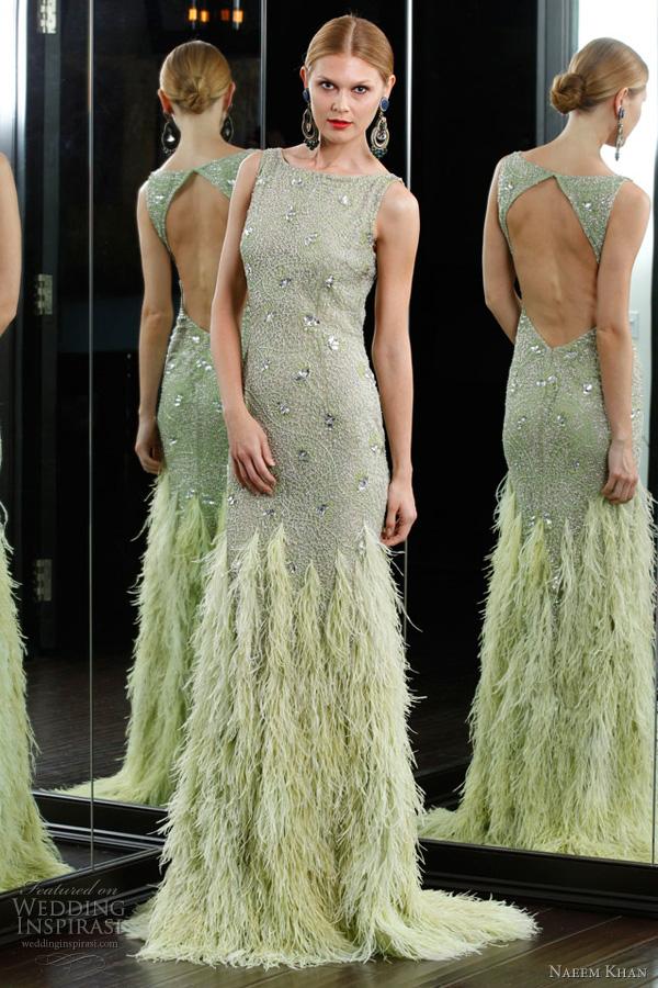 naeem khan resort 2012 collection - pale dusty celadon green dress