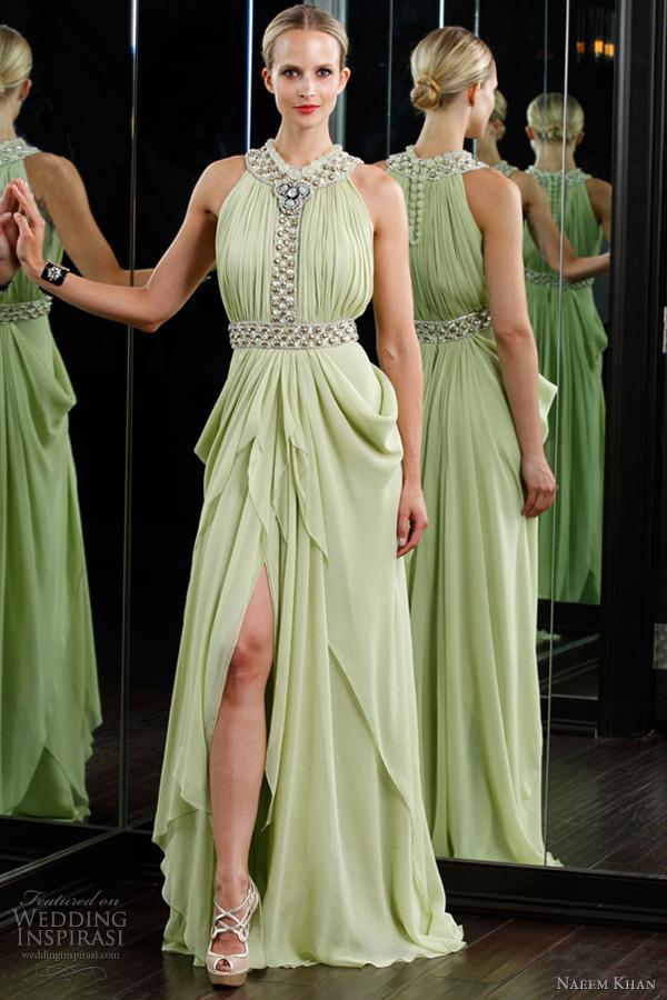 naeem khan resort 2012 dress - celadon grecian drape dress