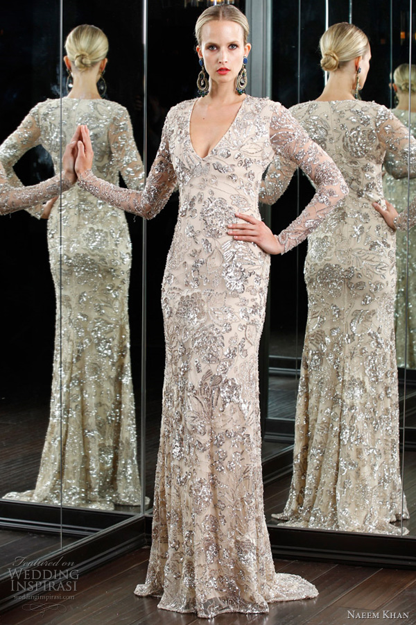 Naeem Khan Wedding Dress 2012   Long Sleeve Gown