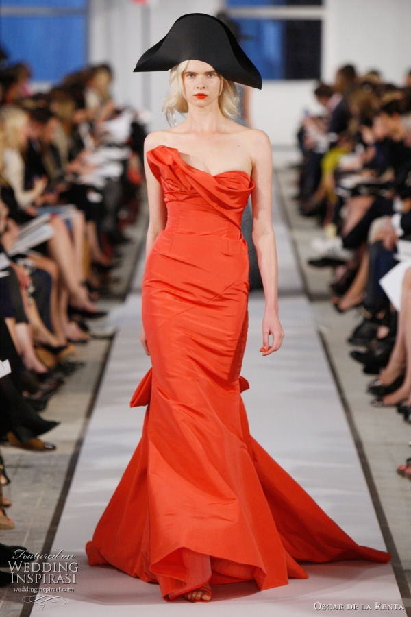 oscar de la renta 2012 resort collection - flamingo silk faille draped gown