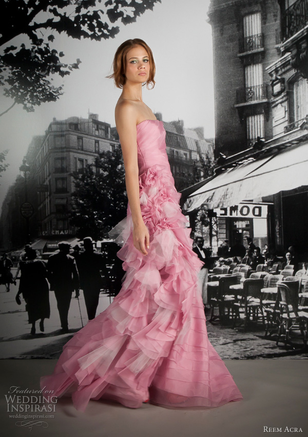 reem acra resort 2012 pink wedding dress