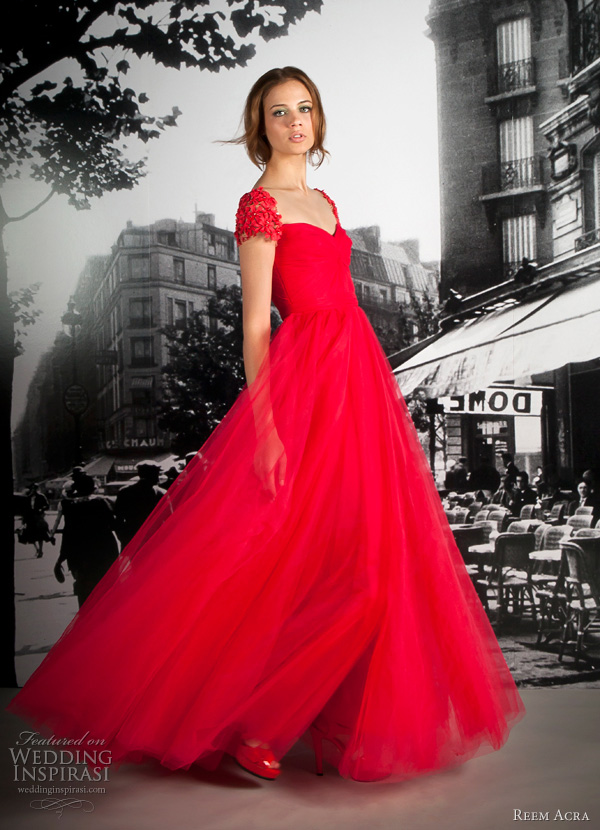 reem acra resort 2012 red dress