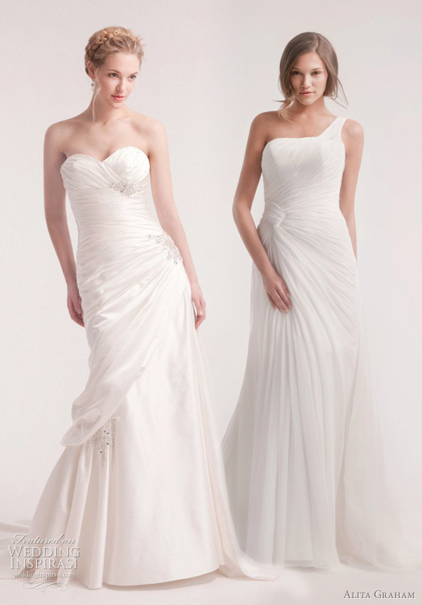 ruched draped wedding dresses alita graham