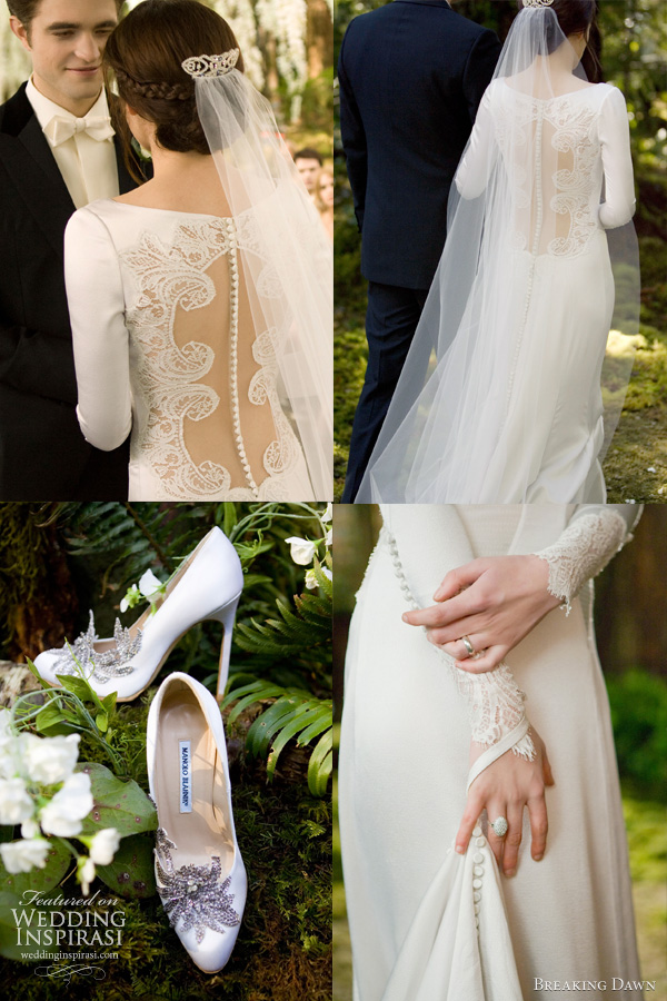 Twilight wedding dress details --  back of the Chantilly lace gown feature a row of 152 buttons and sheer panel framed with delicate embroidery. Jewel embellished Shoes by Manolo Blahnik.