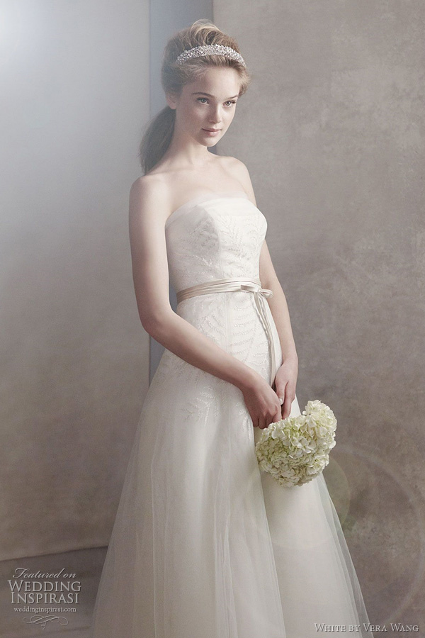 white by vera wang fall 2011 2012 wedding dresses - Organza Gown with Fern Embroidery and Net Overlay Style VW351062