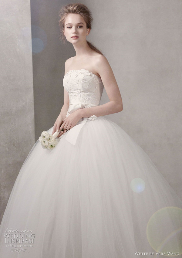 white by vera wang fall 2011 bridal collection - Taffeta Ball Gown with Floral Embroidery on Bodice Style VW351027