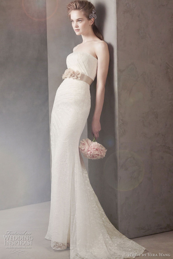white by vera wang wedding dress fall 2011 - Strapless Draped Lace Column Gown Style VW351044