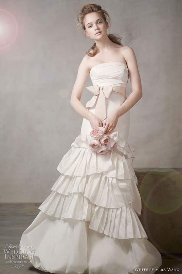 white by vera wang wedding dresses fall 2011 - Mermaid Gown with Pleated Skirt and Bubble Hem Style VW351043