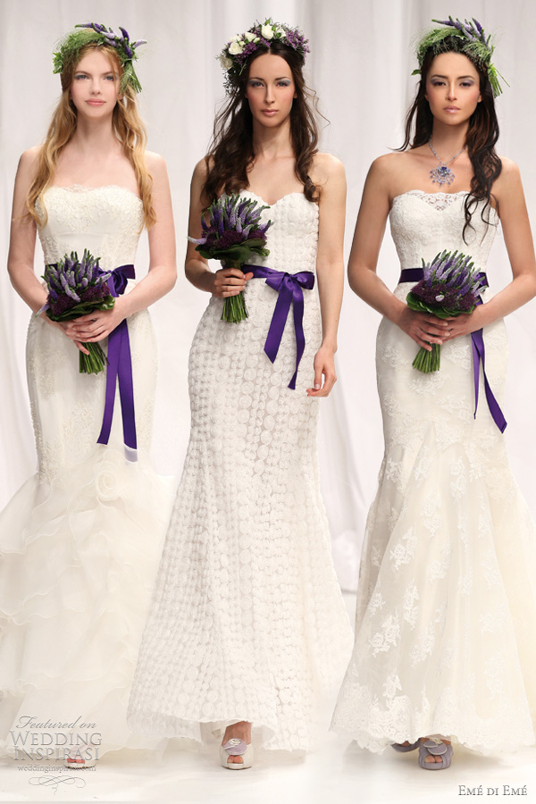 atelier aimee 2012 eme di eme - Gorizia, Bene and Selva sheath and mermaid wedding dresses with purple sash
