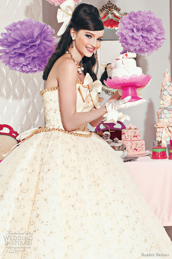 Barbie bridal wedding dresses gowns from the sixth for How to make a barbie wedding dress