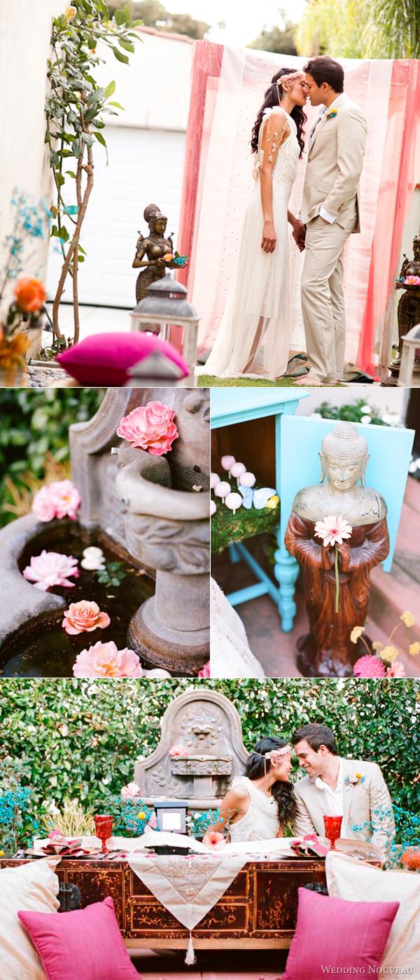bohemian fairytale wedding shoot featuring intercultural couples, fusion weddings