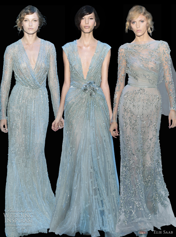elie saab fall 2011 couture blue dresses