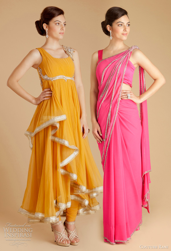 gaurav gupta 2011 couture rani designer collection - Saffron draped tulle anarkali with Churidar, Hot pink georgette sari with sequined twisted knot with butterfly-wing split pallav.