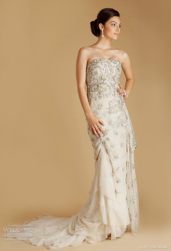 strapless wedding dress with custom designed hand appliqued Hemla lace