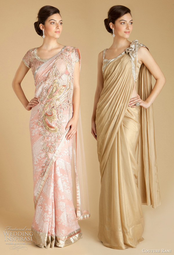 gaurav gupta saree wedding dresses - Light pink booti georgette sari with embroidered peacock motif, Gold foil chiffon sari with hand embroidered silver salli work brooch detail on shoulder and salli work along border of sari.