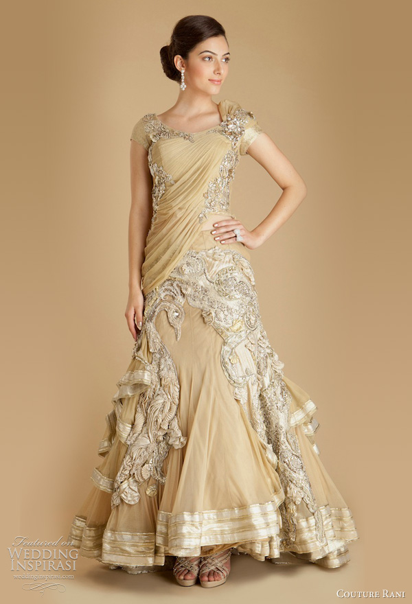 wedding dress couture rani - Draped Tulle Embroidered Peacock Lehenga