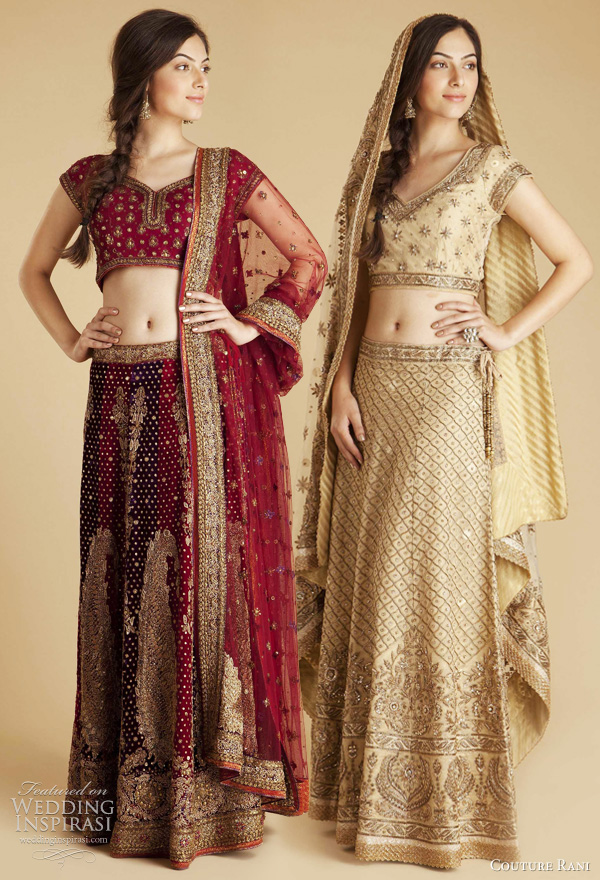 ritu kumar bridal collection 2011 -  Red & Purple Velvet Lehenga,  Gold Neem Zari Lehenga, indian wedding dress from Couture Rani