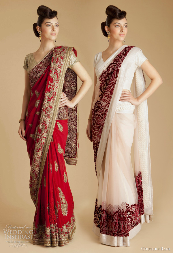 65f7b2bcfe varun bahl designer bridal collection sarees available at Couture Rani - red  georgette paisley sari,