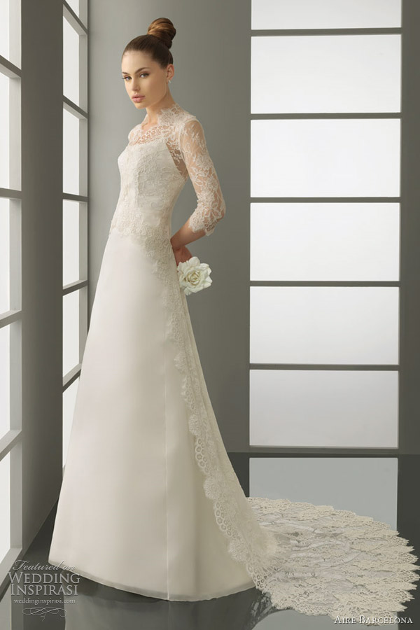 aire barcelona sleeve wedding dress 2012