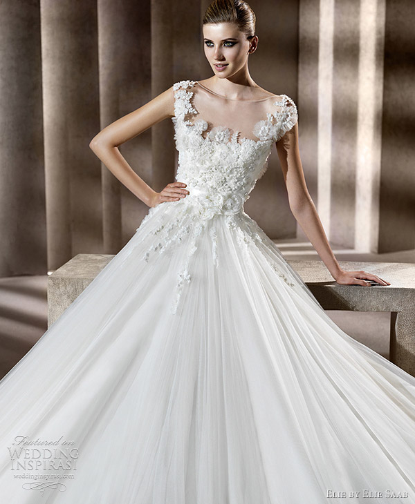 elie by elie saab wedding dresses 2012 - Neftis bridal gown with cap sleeves