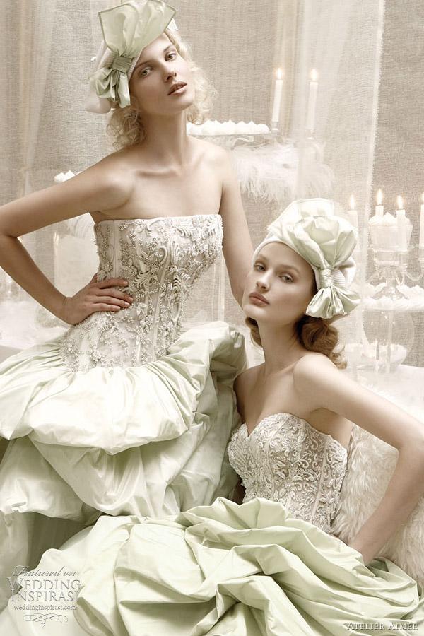 green wedding dresses closeup