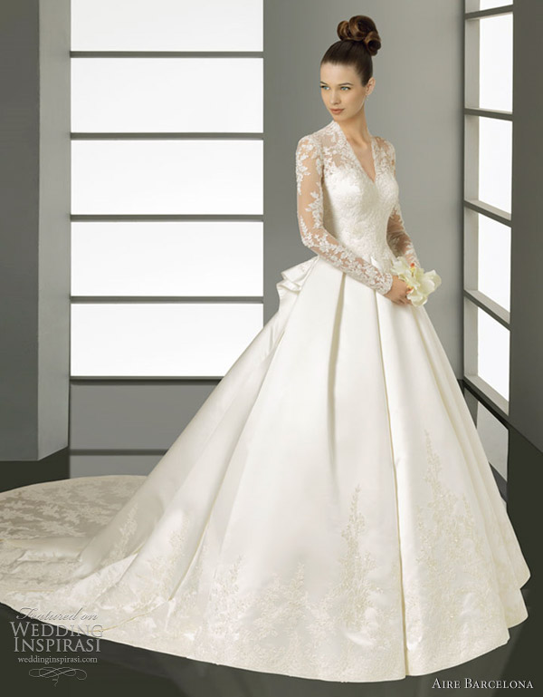 kate middleton inspired wedding dress aire barcelona - Kate-Lace and satin gown, in ivory.