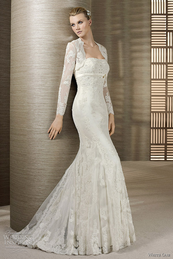 White One 2012 Wedding Dresses Long Sleeve Lace Dress